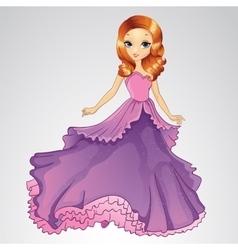 Beautiful Princess In Purple Dress vector image