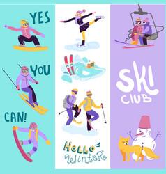 Beautiful ski club skiing vector