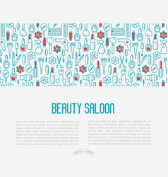 Beauty saloon concept with thin line icons vector