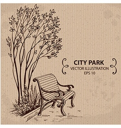 Bench in the City Park vector