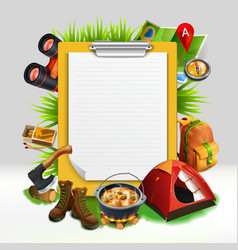 Camping realistic note pad composition vector