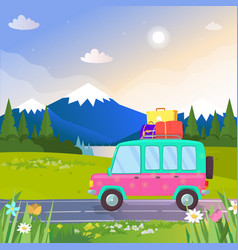 car with luggage at beautiful nature background vector image
