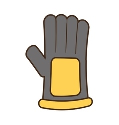 Cartoon glove protection industrial worker design vector