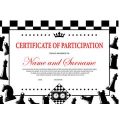 Chess tournament participation certificate award vector
