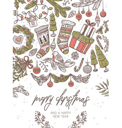 christmas festive greeting card vector image