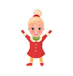 christmas shopping smiling girl in clothes vector image