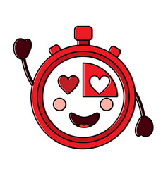 Chronometer with heart eyes kawaii icon image vector