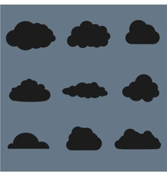 Clouds collection Black vector