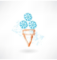 Cold ice-cream grunge icon vector
