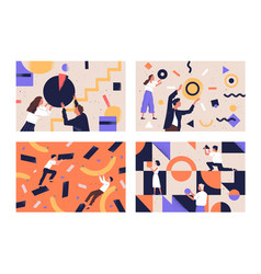 Collection people organizing abstract geometric vector