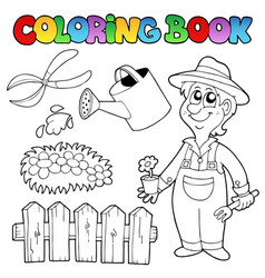 Coloring book with garden topic vector