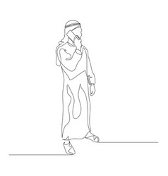 Continuous one line man in arabic clothes talking vector