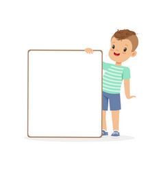 Cute boy character with white empty message board vector