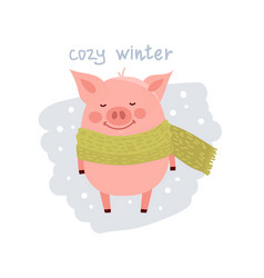 cute cartoon pig wearing in the scarf isolated on vector image