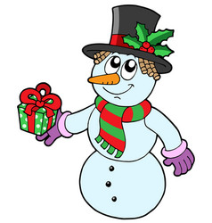 Cute snowman with gift vector