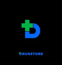 d letter logo drugstore pharmacy cross icon vector image