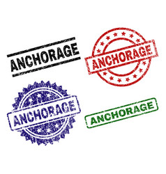 Damaged textured anchorage seal stamps vector