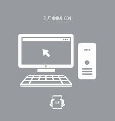 Desktop pc flat icon vector
