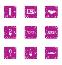 donation deal icons set grunge style vector image
