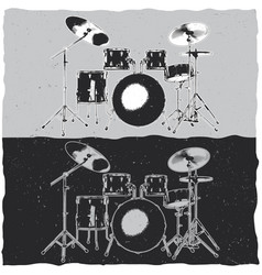 drums in music theme t-shirt label design vector image