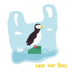 eco poster cute puffin inside the plastic bag vector image