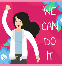 feminist girl power poster we can do it vector image