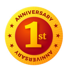 first anniversary badge gold celebration label vector image