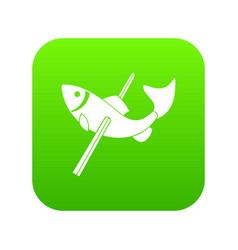 Fishing icon green vector