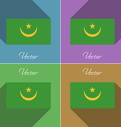 Flags Mauritania Set of colors flat design and vector image vector image