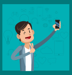Funny man cellphone social media green background vector