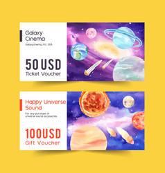 Galaxy ticket design with earth asteroid sun vector