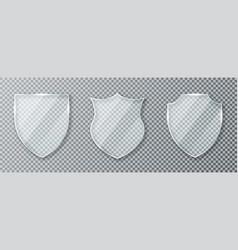 glass shield set transparent shields vector image