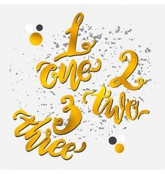Golden alphabet numbers hand-drawn doodle sketch vector image