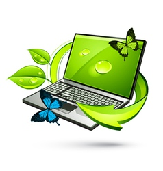 green laptop vector image