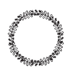 hand drawn wreath floral design vector image