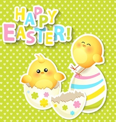 Happy Easter Greeting Card with chikken vector image