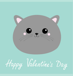 happy valentines day gray cat round face head vector image