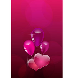 hearts and air balloons on a background of pink vector image