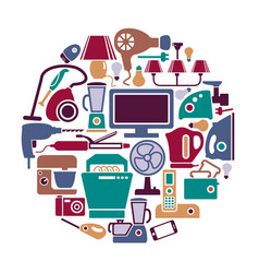Home appliances in form a circle vector