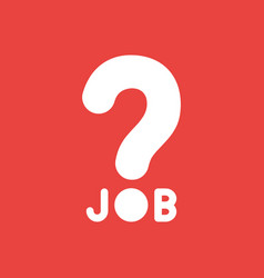 Icon concept of job word with question mark on vector