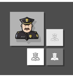 Icon police in black uniforms with police badge vector