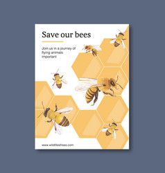Insect and bird poster design with bees vector