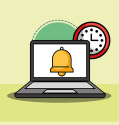 laptop and bell clock customer service vector image