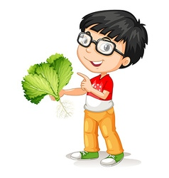 Little boy holding fresh vegetable vector image