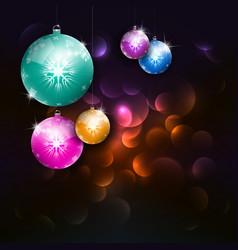 magic christmas dark background with xmas balls vector image