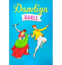 Man and woman playing dandiya dancing Garba vector