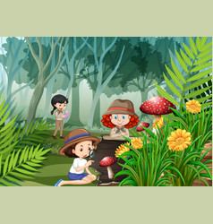 many kids observing nature in park vector image