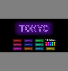Neon name of tokyo city vector