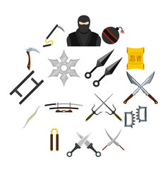 ninja tools icons set in flat style vector image