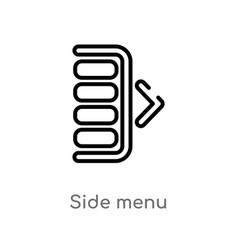 Outline side menu icon isolated black simple line vector